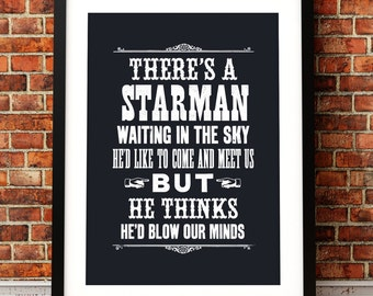 David Bowie song lyric art, David Bowie art print, music inspired print, typographic print, Starman, David Bowie poster