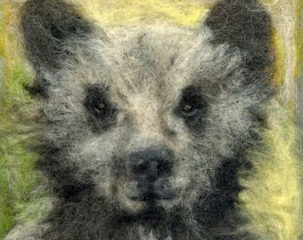 Needle felted bear cub print 20 x 20 cm square