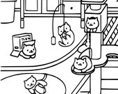 neko atsume coloring page cat lover instant download print your own coloring pages