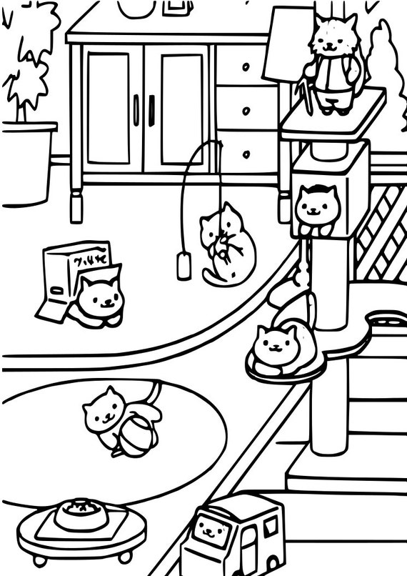 items similar to neko atsume coloring page cat lover instant download print your own coloring pages on etsy