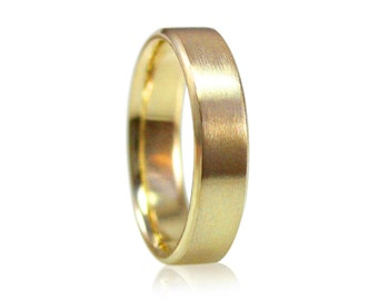 Mens or Womens 5mm Wide Brushed Yellow Gold Wedding Band, 14k White Gold or Palladium, Size 10 Ring, Made to Your Size, Beveled Wedding Band