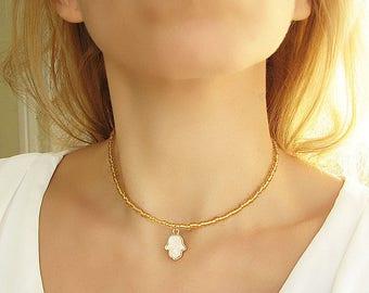 Opal Hamsa Necklace Hamsa Hand Necklace Gold Choker Necklace Beaded Choker Hamsa Hand Choker