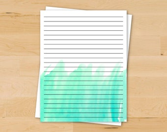 Ombre Watercolor Stationery in Teal | Printable Stationery
