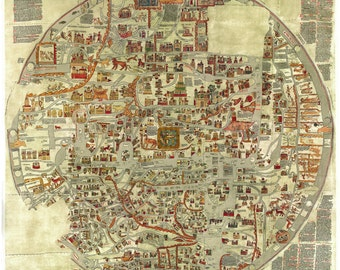 Ebstorfer-stich2, World map, Old world maps, Ancient maps, Old world map, Antique world map, Maps, 225