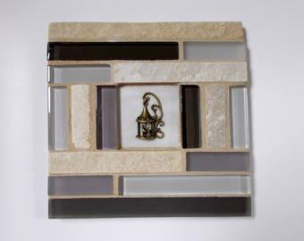 "Gray Glass White Travertine Stone Mosaic Tile Trivet with Bird Cage 6"" x 6"""