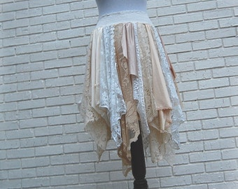 XL Tattered Lace Fairy Woodland Skirt, White and Cream, Hippie, Boho, Gypsy, Funky, Upcycled Clothing