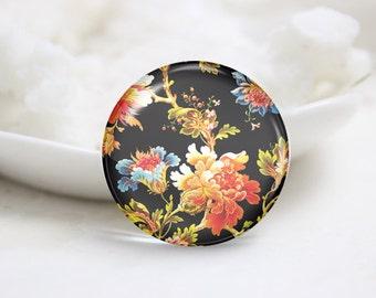 Handmade Round Flower Photo Glass Cabochons (P3659)