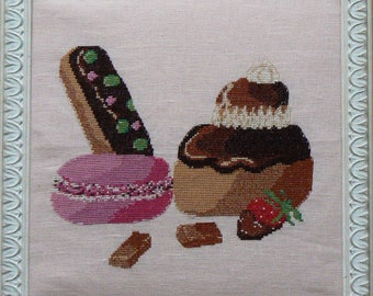 Diagram of embroidery stitch, trio of delicacies macaroon, lightning and religious