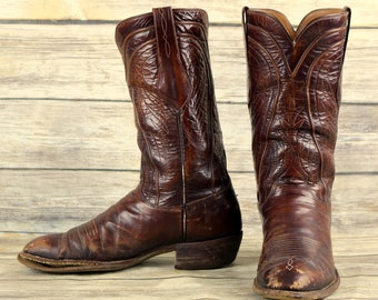 Lucchese Cowboy Boots Brown Leather Mens Size 9 D Distressed Country Western