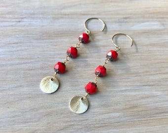 Red Czech Glass Gold Wire Wrapped Handmade Earrings