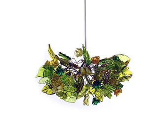 Ceiling Light fixture with green flowers and leaves -  pendant light for rooms, bedroom, bathroom