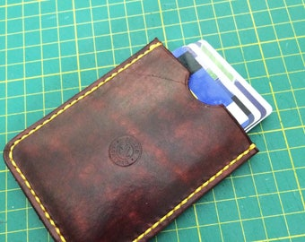 Leather Credit Card Holder vith cach strap, Credit Card Wallet with cash strap, Cash Strap