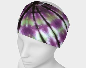 Tie Dye Headband - Hair Accessory - Scarf - Face Warmer - Versatile Accessory - Bandana - Purple Green Black