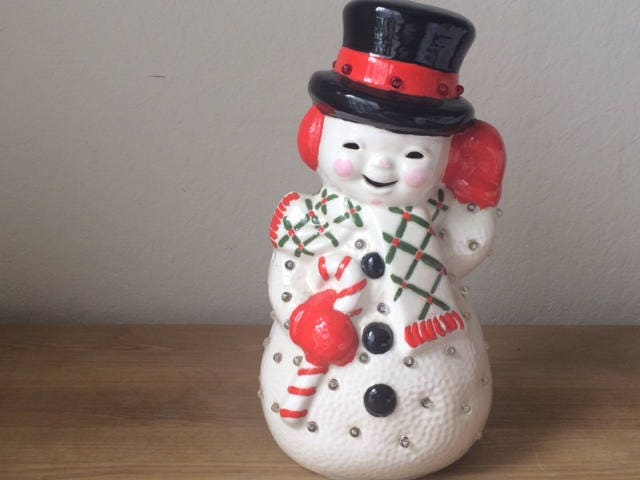 Vintage Light Up Ceramic Snowman Atlantic Mold Holiday Decor