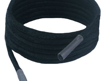 Shoe and Boot Laces Black 3 mm Round Leather