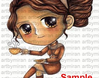 Koffie digitale tijdstempels, Big-Eyed girl kleuren pagina, Instant Download Digi stempel, lijntekeningen Art door Mi Ran Jung-kaart
