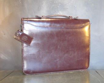 Vintage Dark Brown Leather Attache Laptop Case Soft Briefcase-Binder