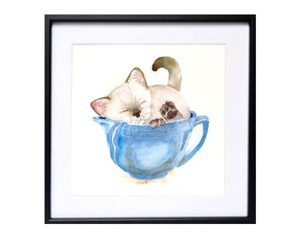 Cat Art, Kitten art print, Cat artwork, Siamese kitten, Cat in cup, Cat wall art, Meme, Feline, Kitten, Blue painting, Watercolor print Sale