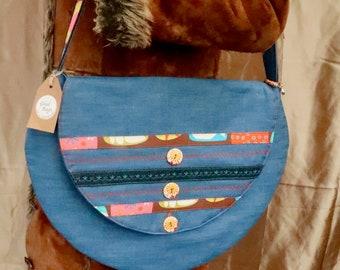 Denim Love & Peace Shoulder Bag (Large)