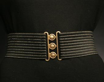 Black elastic belt with Gold stripes