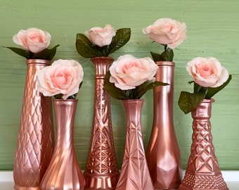 Rose Gold Vases, Rose Gold Wedding, Rose Gold Centerpieces, Rose Gold Bud Vase, Rose Gold Decor, Gold Vases, Gold Wedding, Gold Vases