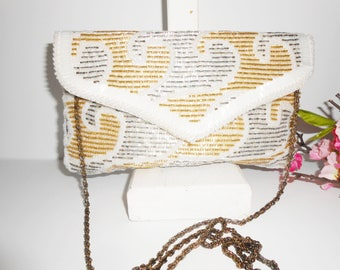 Beaded Evening Bag, Silver Gold White, Glam Evening Bag, Beaded Clutch, Clutch Handbag, Evening Purse, Sparkly Bag, EB-0337