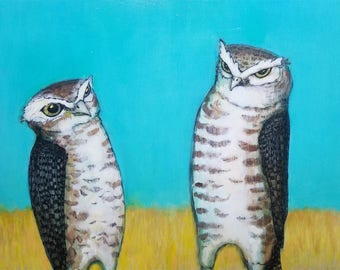 Two Vigilant Burrowing Owls ORIGINAL mixed media painting 9 x 12 collaboration no. 47