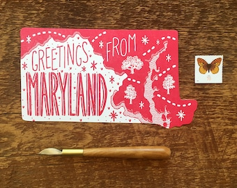 Maryland Postcard, Greetings from Maryland, Single Die Cut Letterpress State Postcard