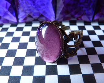 Metallic Amethyst Color Oval Gem Ring Kawaii Goth - Bronze Adjustable Filigree Band