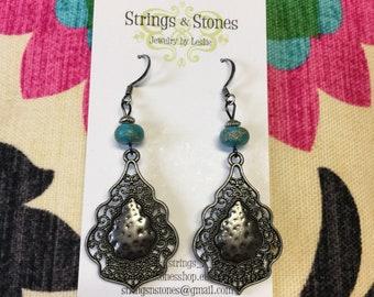 Filigree Turquoise Jasper Gunmetal Gemstone Earrings - Bohemian Jewelry