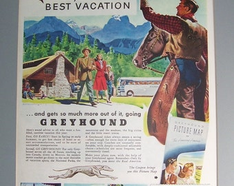 1947 Greyhound Bus  Vacation Ad, Tourist Vacation, The Early Bird Best Vacation, Original Magazine Page,  Honeywell