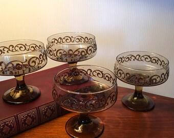 One set of four Libbey Prado champagne or sherbet glasses