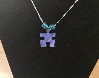 Long Blue Puzzle Chain Necklace