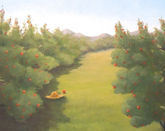 Original folky painting apple orchard