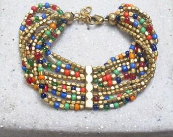 Multi Color Tribal Bracelet Beaded Friendship Bracelet Delicate Boho Bracelet Seed Bead Bracelet Bohemian Bracelet Ethnic Bracelet