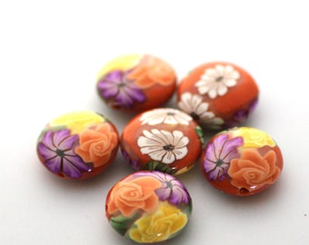 Polymer Clay Beads, Orange Beads, Tropical Flowers Lentil Beads, 6 Pieces