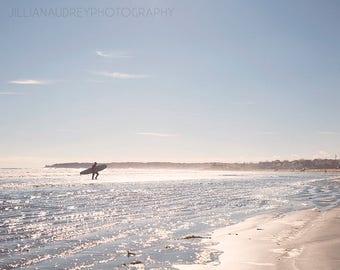 Surfer Photograph, Beach Art, Maine, Coastal Photography, Surf Picture, Ocean Art, Landscape, Blue Sea, Travel, Beach House Art, Surf Decor