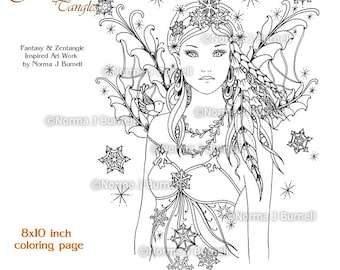 Winter Coloring Page Etsy Adult Small Paterns Snow Bird Fairy Printable Book