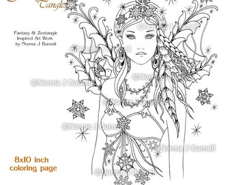 Snow Bird Winter Fairy Printable Coloring Book Page by Norma J Burnell Digital Coloring Book Sheets Fairies to color Adult coloring pages
