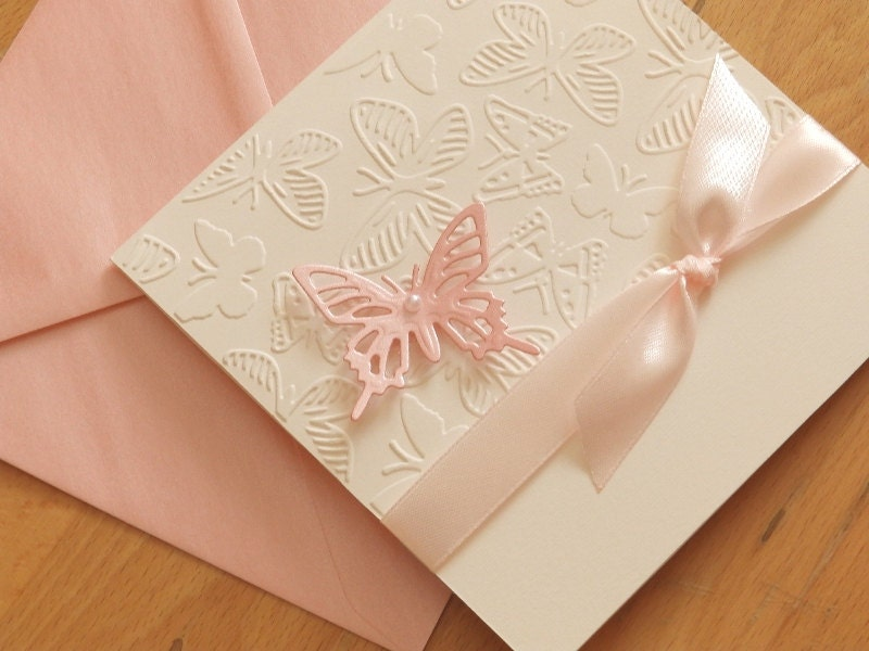 Handmade christening invitation/Butterfly Baptism invitation