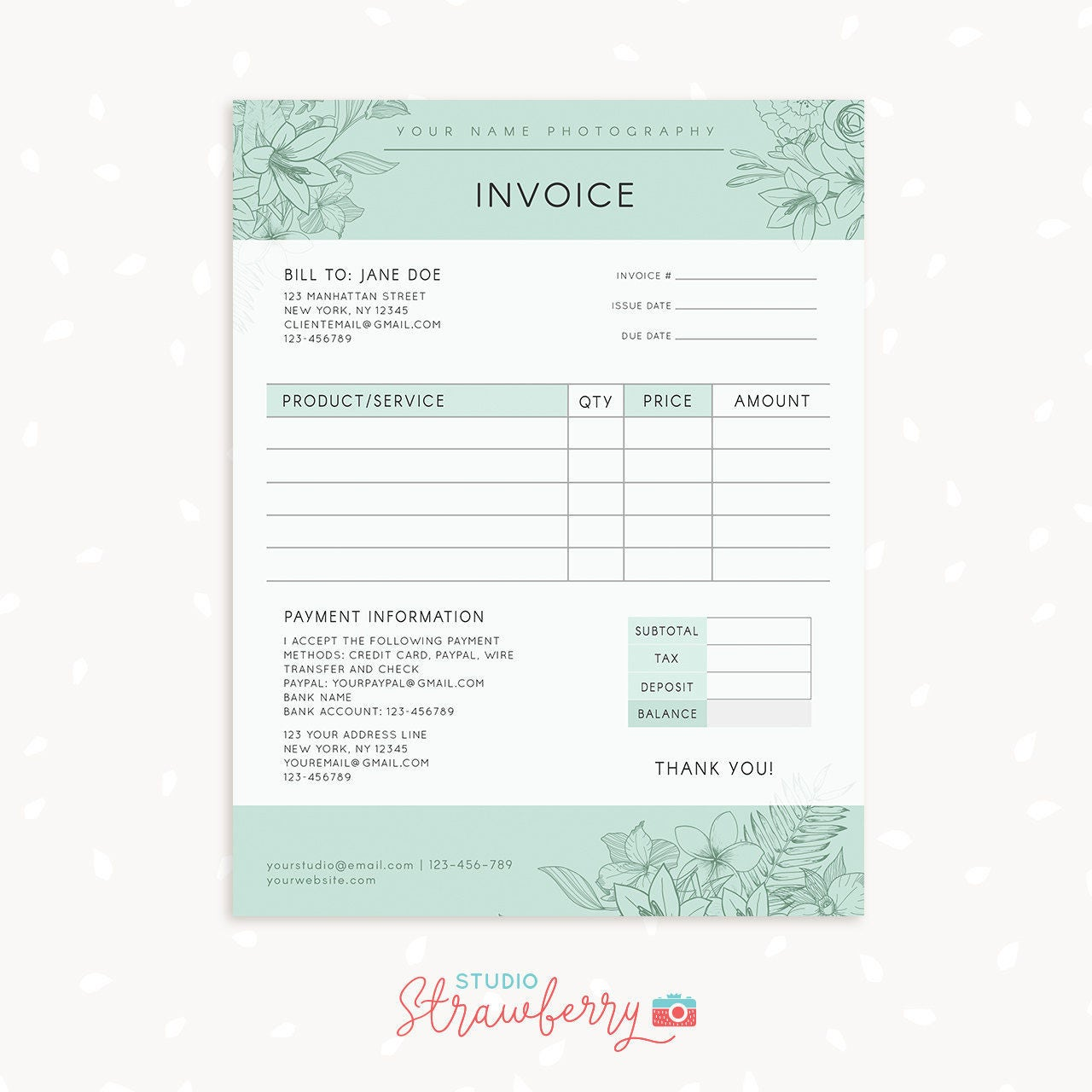 Invoice Template Photography Invoice Business Invoice - Free printable billing invoice forms online store credit cards guaranteed approval