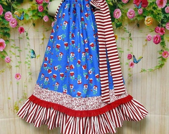Girl Dress 4T/5 Blue Red  Floral and Stripes Pillowcase Dress, Pillow Case Dress, Sundress, Boutique Dress