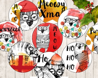 1 inch circles Christmas Cats collage sheet digital download inchies pendant circles images for jewelry cute xmas cat clipart funny