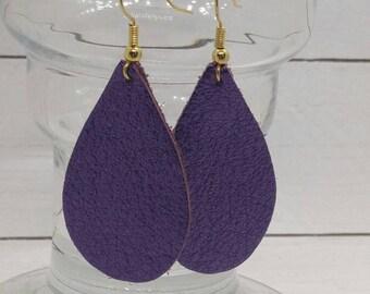 leather teardrop earrings, small leather teardrops, metallic purple, vibrant purple