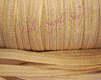 "Gold FOE - Fold over Elastic  - Elastic by the yard - Gold Glitter FOE - 5/8"" Fold Over Elastic - Sparkle Gold Elastic - Elastic Ribbon"