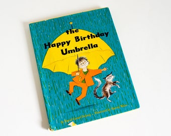 Vintage 1960s Childrens Book / The Happy Birthday Umbrella by David DeJong 1960 HCDj Weekly Reader / MCM Harvey Weiss Illustrations