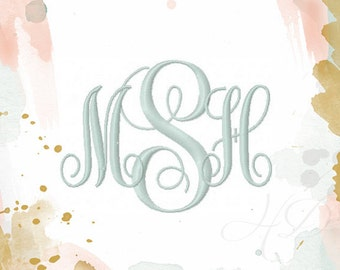 "1"" and 2"" inch Embroidery Font Classic Vine Monogram Font 4x4 hoop Instant download BX Small PES"