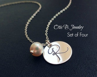 Wedding jewelry gift set of FOUR: Sterling silver Initial Necklaces, Personalized Bridesmaid gifts,  Bridesmaid jewelry, pearl necklaces