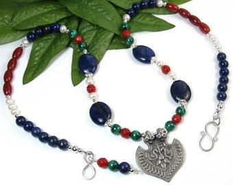Lapis Gemstone Necklace, Statement Necklace, Bird Necklace, Ancient Egypt, Blue Green Red, Lapis Malachite Coral Boho, Valentines Day, OOAK