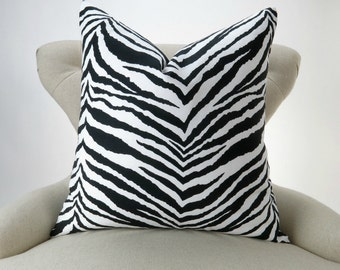 Zebra Pillow Cover BIG SIZES! Euro Sham, Floor Cushion, Animal Print Pattern (24x24 26x26 28x28 inch) Tunisia Black/White by Premier Prints